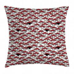 Kırmızı Mantar Desenli Yastık Kırlent Kılıfı