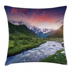 Nehir ve Karlı Dağlar Yastık Kırlent Kılıfı
