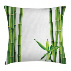 Bambu ve Yaprak Desenli Yastık Kırlent Kılıfı