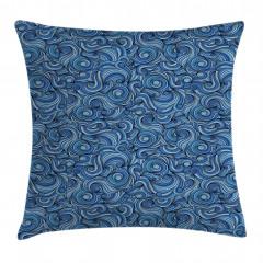 Mavi Girdap Desenli Yastık Kırlent Kılıfı