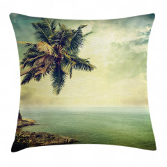 Ada Palmiye Manzaralı Yastık Kırlent Kılıfı