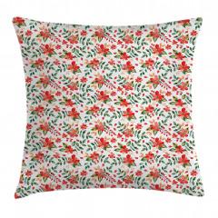 Kırmızı Çiçek Desenli Yastık Kırlent Kılıfı