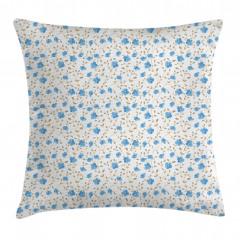 Mavi Çiçekli Yastık Kırlent Kılıfı