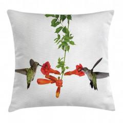 Kırmızı Çiçek ve Kuş Yastık Kırlent Kılıfı