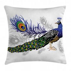 Tavus Kuşu Desenli Yastık Kırlent Kılıfı