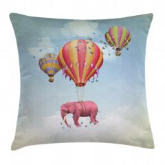 Rengarenk Balon ve Fil Yastık Kırlent Kılıfı