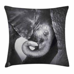 Fil ve Yavrusu Temalı Yastık Kırlent Kılıfı