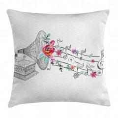 Gramofon Çiçek ve Nota Yastık Kırlent Kılıfı