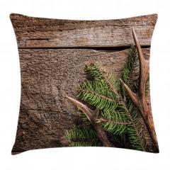 Çam Ağacı ve Boynuz Yastık Kırlent Kılıfı