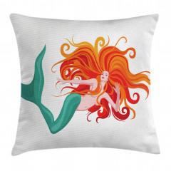 Kızıl Saçlı Deniz Kızı Yastık Kırlent Kılıfı