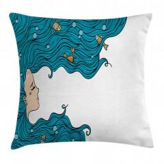 Mavi Saçlı Deniz Kızı Yastık Kırlent Kılıfı