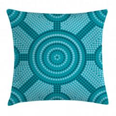 Mavi Mozaik Desenli Yastık Kırlent Kılıfı