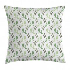 Yeşil Yaprak Desenli Yastık Kırlent Kılıfı