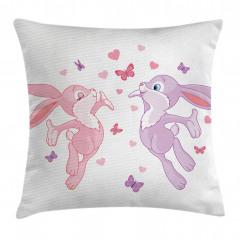Tavşanlar ve Kelebekler Yastık Kırlent Kılıfı
