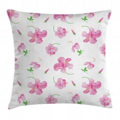 Pembe Çiçek Desenli Yastık Kırlent Kılıfı