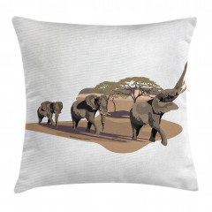 Fil ve Ağaç Desenli Yastık Kırlent Kılıfı