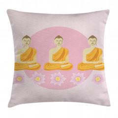 Buda ve Lotus Desenli Yastık Kırlent Kılıfı