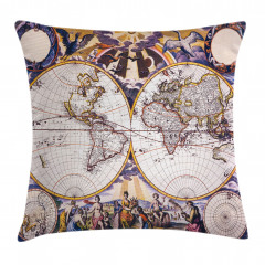 Antik Dünya Haritası Yastık Kırlent Kılıfı
