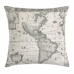 Antik Amerika Haritası Yastık Kırlent Kılıfı