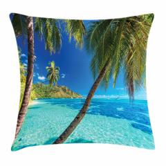 Tropik Adadaki Palmiye Yastık Kırlent Kılıfı