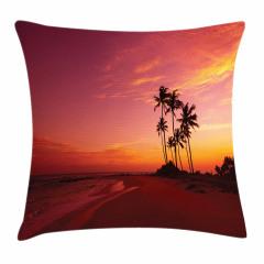 Tropik Adada Gün Batımı Yastık Kırlent Kılıfı