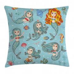 Sevimli Deniz Kızları Yastık Kırlent Kılıfı