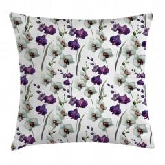 Orkide Desenli Yastık Kırlent Kılıfı