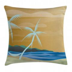 Palmiye ve Kumsal Yastık Kırlent Kılıfı