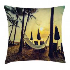 Plaj ve Hamak Desenli Yastık Kırlent Kılıfı
