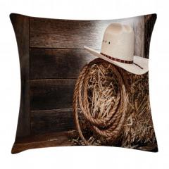 Kovboy Şapkası Desenli Yastık Kırlent Kılıfı
