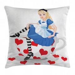 Alice Temalı Yastık Kırlent Kılıfı