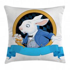 Tavşan Desenli Yastık Kırlent Kılıfı