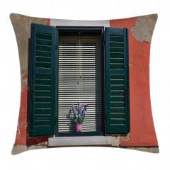 Çiçekli Pencere Temalı Yastık Kırlent Kılıfı