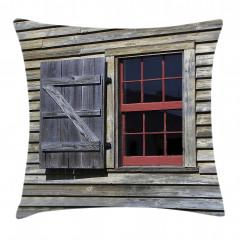 Antik Ahşap Pencereli Yastık Kırlent Kılıfı