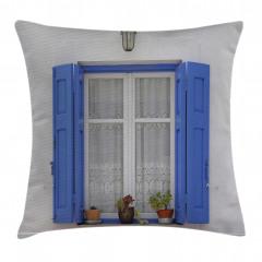 Mavi Pencere Temalı Yastık Kırlent Kılıfı