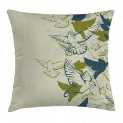 Yeşil Kuş Desenli Yastık Kırlent Kılıfı