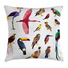Rengarenk Kuşlar Temalı Yastık Kırlent Kılıfı