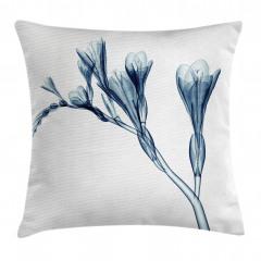 Mavi 3D Çiçek Desenli Yastık Kırlent Kılıfı