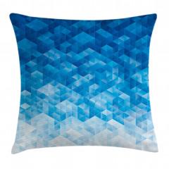 Mavi Geometrik Desenli Yastık Kırlent Kılıfı