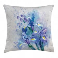 Sulu Boya Çiçek Desenli Yastık Kırlent Kılıfı