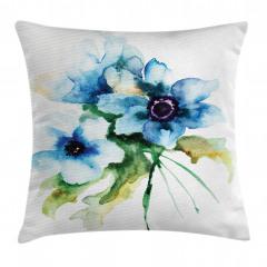 Mavi Çiçekler Desenli Yastık Kırlent Kılıfı