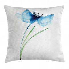 Mavi Çiçek Desenli Yastık Kırlent Kılıfı