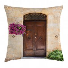 Kapı ve Mor Çiçek Yastık Kırlent Kılıfı