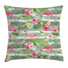Flamingo Tropikal Çiçek Yastık Kırlent Kılıfı