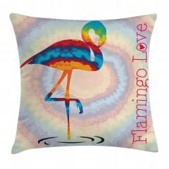 Flamingo Aşkı Yastık Kırlent Kılıfı