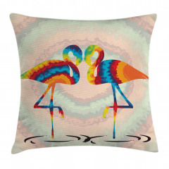Gökkuşağı Flamingolar Yastık Kırlent Kılıfı