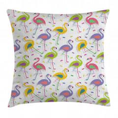 Rengarenk Flamingolar Yastık Kırlent Kılıfı