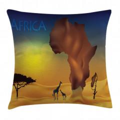 Zürafa ve Afrika Yastık Kırlent Kılıfı