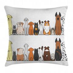 Sevimli Köpek Desenli Yastık Kırlent Kılıfı