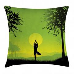 Gün Doğumunda Yoga Yastık Kırlent Kılıfı